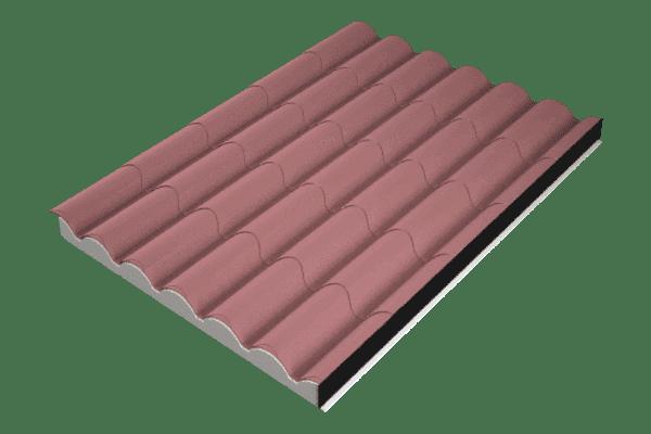 Panel sándwich imitación teja rojo ral 8004