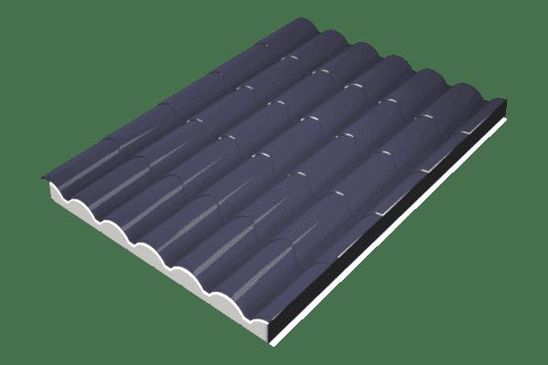 Panel sándwich imitación teja gris pizarra